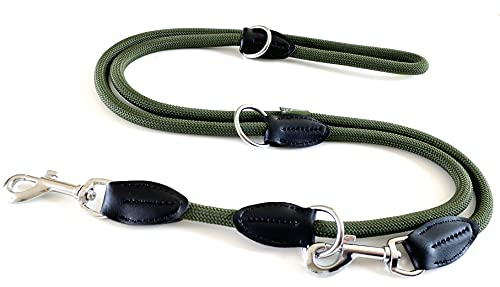 Leisegrün Hundeleine Paracord, 3fach verstellbare Umhängeleine aus Nylon, rund und bissfest mit 2 Karabiner, 2 m, Olive Grün