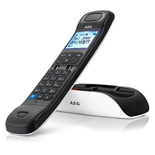 """AEG Tongoo 15 - Schnurloses 1.6\"""" Design DECT-Telefon mit Freisprecheinrichtung, Anrufbeantworter und Anruf Blocker, Weiß"""