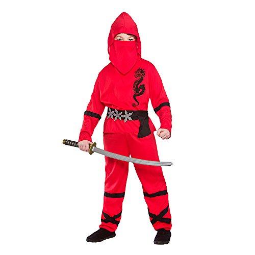 BOY'S RED POWER NINJA FANCY DRESS COSTUME