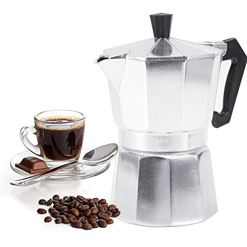 Stovetop Espresso Maker Moka Pot Italian Espresso Greca Coffee Maker 2 Cup 100ml Aluminum Stove Top Coffee Home Office Use Gift for Friends for Italian Espresso Cappuccino Latte Silver