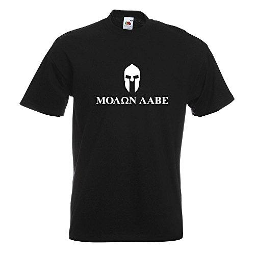 Elmetto Spartan - Molon Labe T-Shirt in 15 Diversi Colori - Man Print Fun Pattern Modello in Cotone S M L XL XXL