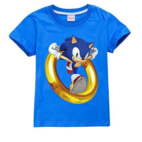 Unisex Bambini Cartoon Sonic-Hedgehog Moda T-Shirt Cotone Tee Estate Manica Corta Camicia Casual Top Blu 140 cm