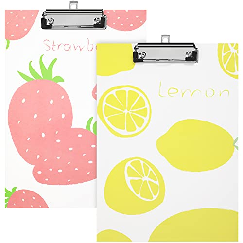 2 Pieces Wooden Clipboards Letter Size Clipboard A4 Standard Size 8.7 x 12.2 Inch Paperboard Clipboard with Low Profile Metal Clip Cute Pattern Clip Boards for Office School Supplies