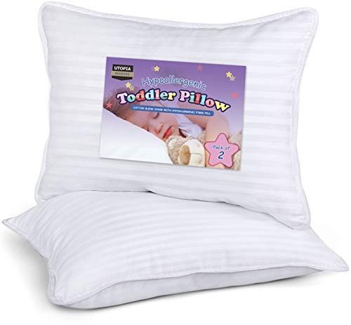 Utopia Bedding 2 Pack Toddler Pillow - Baby Pillows for Sleeping - Cotton Blend Cover - Pack of 2 Kids Pillows - White - 13 x 18 Inches