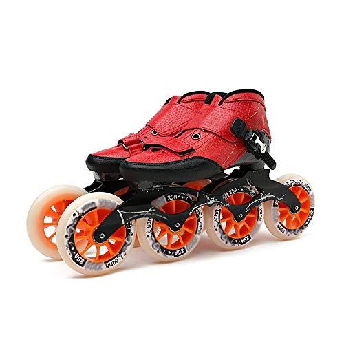 SSCYHT Schlittschuhe, Inline-Schlittschuhe, Erwachsene Einreihige Anfängersportarten für Männer und Frauen Carbon-Profi-Rollschuhe,Rot,32