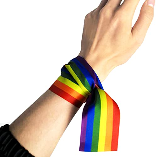ZFAYFMA Regalos Gay, Cintas Decorativas, Pulseras, Joyas, diarillas de Arco Iris, adecuadas para Hombres, Mujeres, bisexuales y asexuales. Accesorios LGBT L
