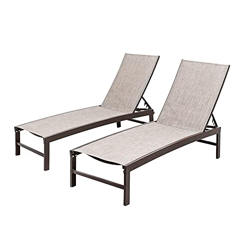 Crestlive Products Aluminum Adjustable Chaise Lounge Chair Outdoor Five-Position Recliner, Curved Design, All Weather for Patio, Beach, Yard, Pool (2PCS Beige)