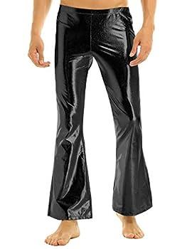 zdhoor Men s 70s Retro Disco Bell Bottom Flare Pants Metallic Shiny Legging Tights Long Trousers Black Medium