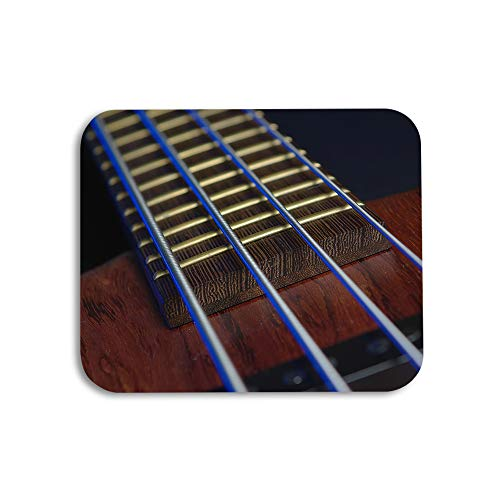 AOYEGO Guitar Mouse Pad Musical Bass Chord Stripe Wood String Gaming Mousepad Rubber Large Pad Non-Slip for Computer Laptop Office Work Desk 9.5x7.9 Inch Dark Brown