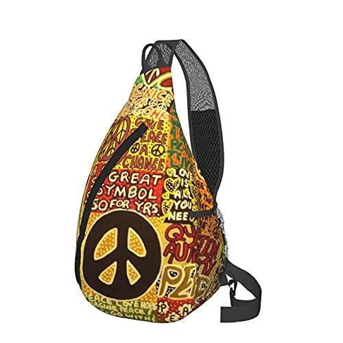 Sling Rucksack Reise Wandern Daypack 3D Grafik gedruckt Crossbody Umhängetasche, - Peace Rocks Love Not War Hippie Schwarz - Größe: Einheitsgröße