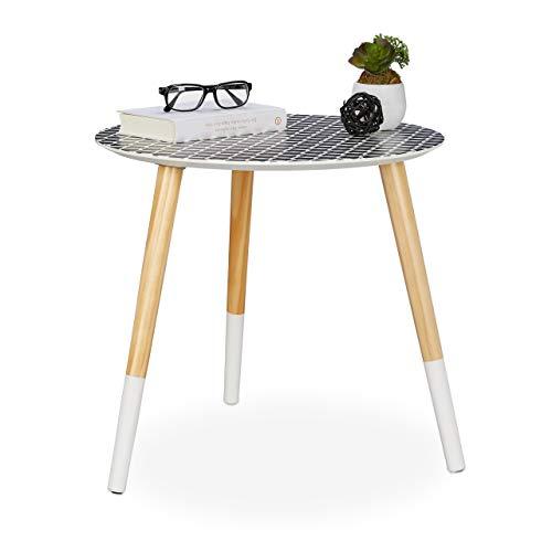 Relaxdays, schwarz/weiß/Natur Beistelltisch rund, dekoratives Muster, Holztisch niedrig, Dreibein Tisch, HxD 45x48 cm, 45 x 48 x 48 cm