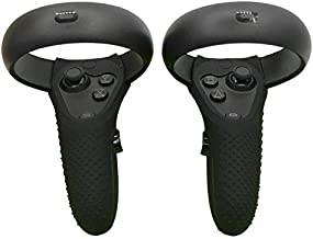 Esimen Controller Skin for Oculus Quest Rift S Premium GelPremium Gel Shell Silicone Grip Covers Protection Covers Featuring Low-Profile Friction Studs (Set of 2) (Black)