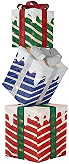 HolidayTime Light-Up Stacked Gift Boxes Outdoor Christmas Decor, 42 inches