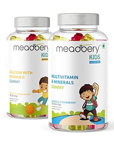 Meadbery Kids Multivitamin & Calcium Combo, Gummy Bears Gluten-Free Formula with Minerals and Vitamins B; C; D; E; B12; B6 for Kids Bone Health & Growth, Kids Bone & Teeth Health, 30+30 Tasty Gummies