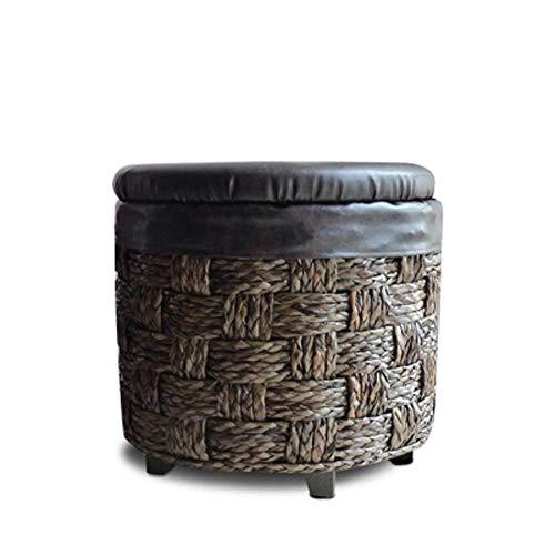 Yxsd Taburete de almacenamiento de ratán para adultos, de madera maciza, multifuncional, para zapatos, sofá, taburete (tamaño M: