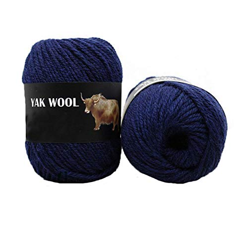 Clisil 300g Thick Yak Wool Yarn Warm Cashmere Thread Knitting Worsted Blended Crochet Yarn Navy Blue DIY Winter Sweater Scarf Gloves Yarn