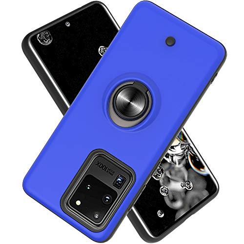 FAWUMAN Coque Samsung Galaxy S20 Ultra(6.9 inch,Bouton de décompression,Gyroscope Rotatif,PC + TPU Housse résistant aux Chocs avec Support à Anneau Rotatif à 360 degrés -Bleu Marin