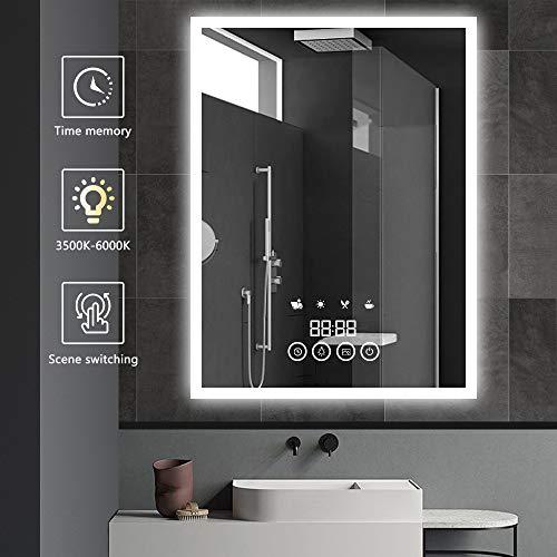 LITZEE 60x80cm Badezimmerspiegel mit LED-Beleuchtung, Badspiegel Wandspiegel mit Touch-Schalter, Zeitanzeige, Szenensimulation