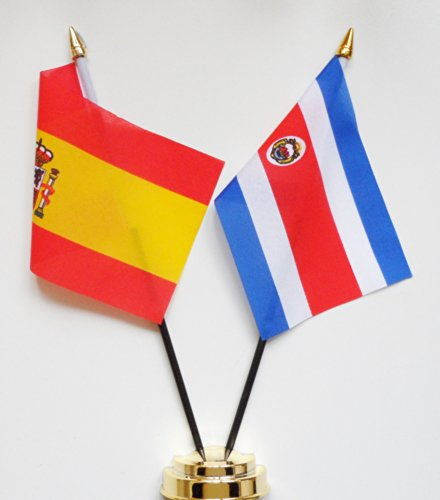 Espagne et drapeau de Costa Rica amitié Table Présentoir 25 cm (10 \