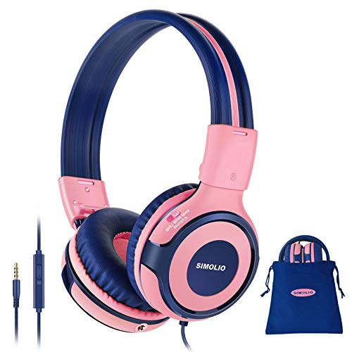 SIMOLIO Kids Headphones with 75dB,85dB,94dB Volume Limited & Share Jack, Headphones for Girls with Mic, Durable Children Headphones with Safe Volume, On-Ear Kids Headsets for Gift/School/Plane (Pink)