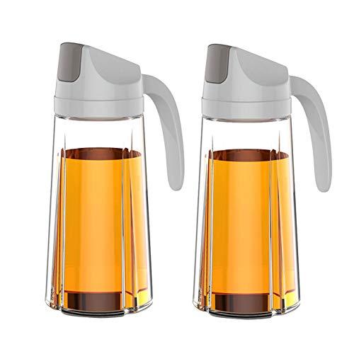 Pilika Dispensador de botella de aceite con vinagre de vidrio para cocina con tapa protectora automática de 630 ml, color gris, 2 unidades