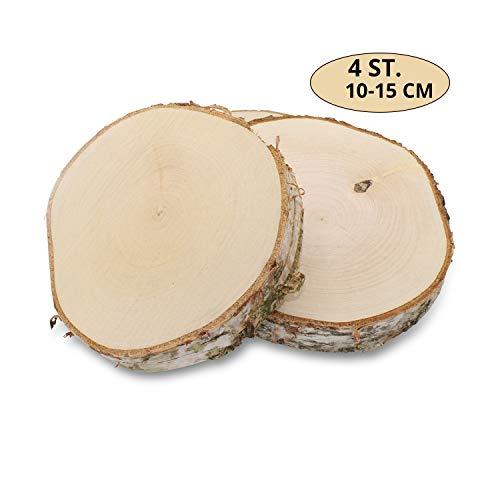 GREENHAUS XXL Birkenscheiben aus Deutschland 10-15 cm 4 Stück geschliffen Holzscheiben Baumscheiben Baumstamm Holzdeko