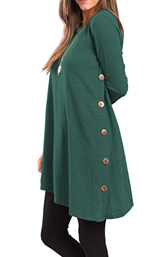 iGENJUN Women's Long Sleeve Scoop Neck Button Side Sweater Tunic Dress,XL,Green