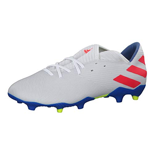 adidas Nemeziz Messi 19.3 FG, Bota de fútbol, White-Solar Red-Football Blue, Talla 10,5 UK (45 1/3 EUR)