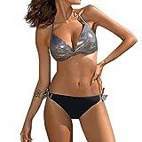 ZDJH Maillot de bain sexy pour femme - Patchwork à paillettes - Bikini push-up - Taille basse -...