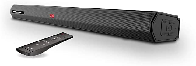 Milanix Soundbar, Audio Speaker for TV, 35-Inch Wired & Wireless 5.0 Bluetooth Stereo Sound Bar, LED Display HDMI ARC/USB/Optical/Aux/RCA Connection, Three Sound Modes, Wall Mountable, Remote Control