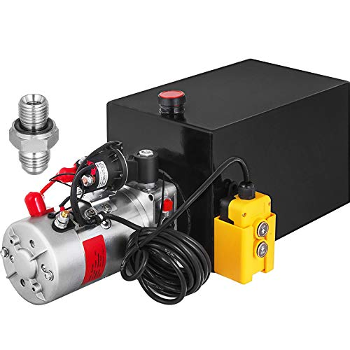 Mophorn Single Acting Hydraulic Pump 12V DC Hydraulic Power Unit 3.75 Gallon Dump Trailer Pump Steel Hydraulic Power Unit (Steel, 15 Quart/Single Acting)