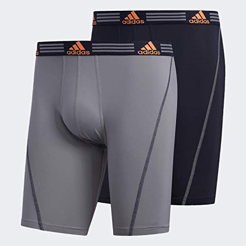 adidas Men's Sport Performance Midway Underwear (2-Pack), Grey/Legend Ink Blue Legend Ink Blue/Solar Orange, MEDIUM