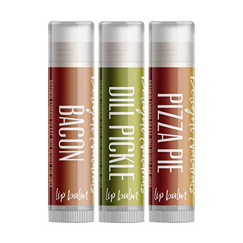 Delight Naturals Weird Flavor Fun Lip Balm Set - 3 Funny Novelty lip balm flavors - Dill Pickle, Pizza, and Bacon