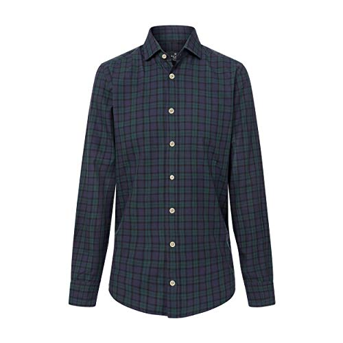 Hackett London Blackwatch Tartan, Camisa para Hombre, Multicolor (Green/Navy 6A6) L
