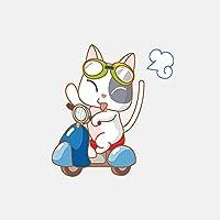 LGLGXR 8.8cmx14.9 CM漫画猫オートバイポリヴァー装飾車のステッカー