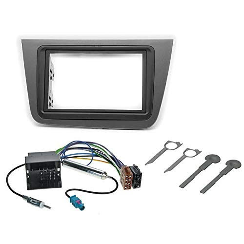 Sound Way - 2 DIN Radio Blende Einbau Rahmen Adapter Einbauset kompatibel mit SEAT Altea 2004-2015, Toledo 2004-2009 - KA11-582