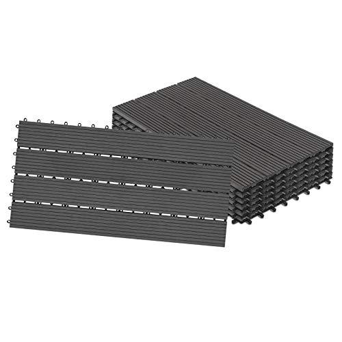 NAIZY Suelo de balcón 30x60cm Baldosas de balcón Sistema clic WPC Terrazas de plástico con aspecto de madera Se puede montar para balcón terraza de jardín (juego de 6 por 1m², antracita)
