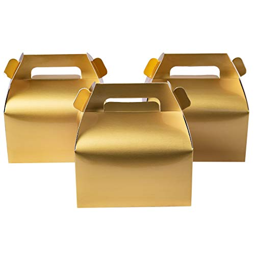 Metallic Gold Candy Treat Boxes,Small Gift Boxes 6.2 x 3.5 x 3.5 inch