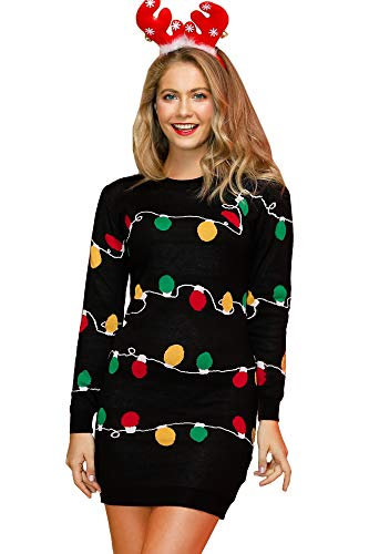 Spadehill Xmas Womens Ugly Party Christmas Light Sweater Dress Graphic Cable Knit Long Sleeve Sweater Dress S