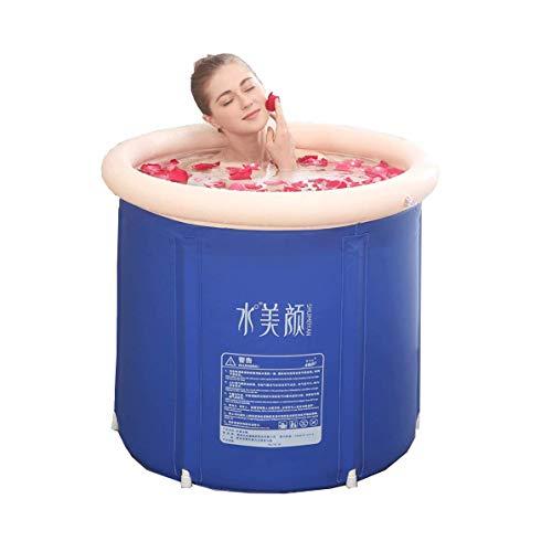 Bañera hinchable portátil, azul resistente para baño de inmersión, piscina hinchable independiente, baño en casa, spa para adultos y bebés (con bomba de aire) (tamaño: S)