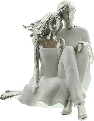 Figur Pärchen Deko Liebespaar aus Polyresin, 15x15x20 cm, Modern Hochzeit Liebe