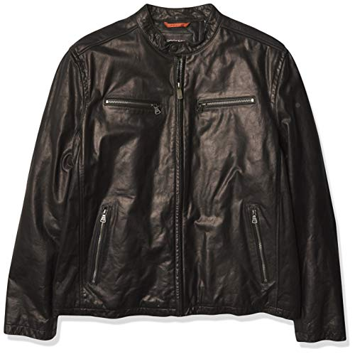 Dockers Men's Washed Leather Racer Jacket, Black, X-Large