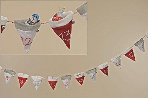 Adventskalender zakjes sokken 24 stuks rood wit lengte 270 cm Kerstmis Advent