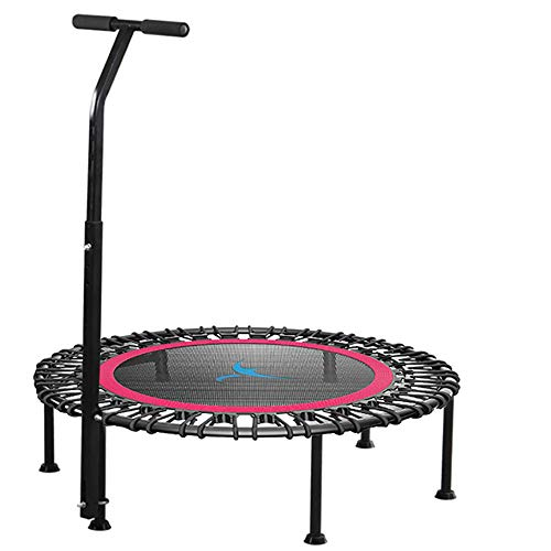 32' 40' 42' Fitness Trampoline, Silent Mini With Adjustable Handle Length, Adults Kids Indoor Gym Bungee Rebounder Jump Trainer Workout,red-32''-With-armrests