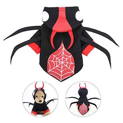 Lifreer Disfraces de Halloween para perros Disfraz de araña Uniforme con sombrero Ropa de perro Traje para Halloween Navidad Fiesta Disfraces Traje (M)
