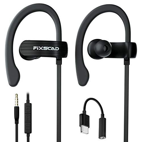 FIXSCAD Y171 Sports Earbuds Wired with Microphone, Soft Wrap Around Earphones with Over Ear Hook, in Ear Running Headphones for Exercise Compatible with Samsung, with Type C to 3.5mm Adapter