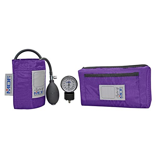 MDF® Calibra® Aneroid Premium Professional Sphygmomanometer - Blood Pressure Monitor with Adult Cuff & Carrying Case - Full Lifetime Warranty & Free-Parts-For-Life - Purple (MDF808M-08)