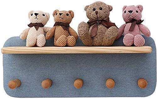 Boekenkast met planken, uniek design voor de muur - 4/5/6 hook, geschikt voor de entree, kantoor, hal, slaapkamer, keuken, badkamer (grootte: 4 haken)