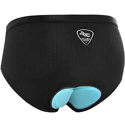 NOOYME Women Bike Underwear Gel 3D Padded Printed Design Bicycle Briefs Cycling Underwear Shorts (Large, Black)