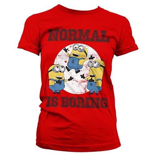 Minions Licenciado Oficialmente Normal Life Is Boring Mujer Camiseta (Rojo), M